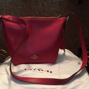 COACH Small Dufflette in Red Natural Leather